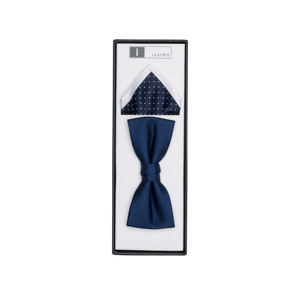 IBH011 Navy Issimo School Formal Bow Tie & Hank Box Set