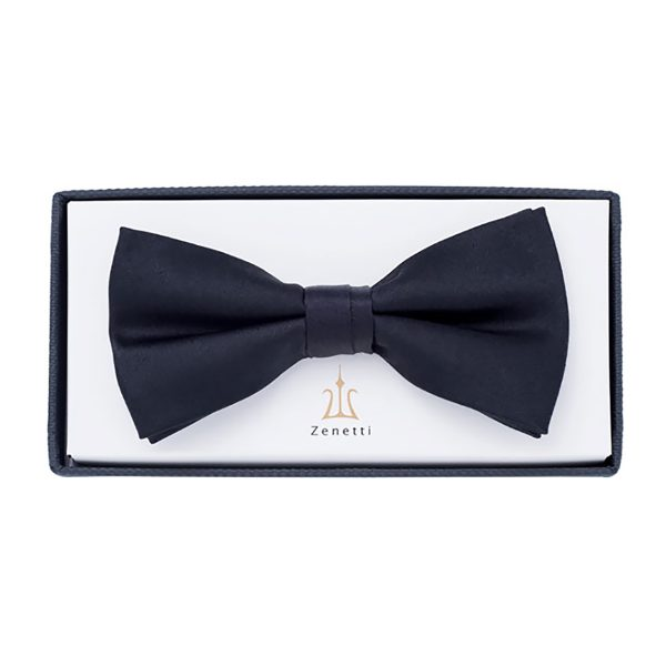 ZBT001 Black Silk Bow Tie School Formal