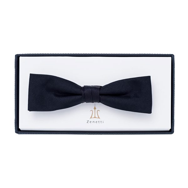 ZBT002 Slim School Formal Silk Bow Tie Black