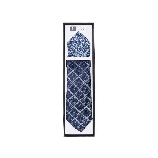 ITH026 Navy Tie & Hank Set